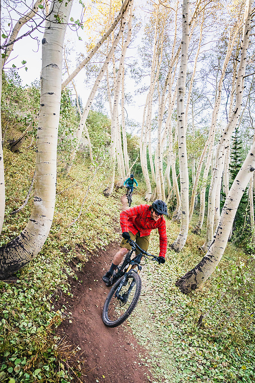 Hannah Barkey and Rob Aseltine enjoy a moring session on the Crest Trail, Wasatch Range, Utah.