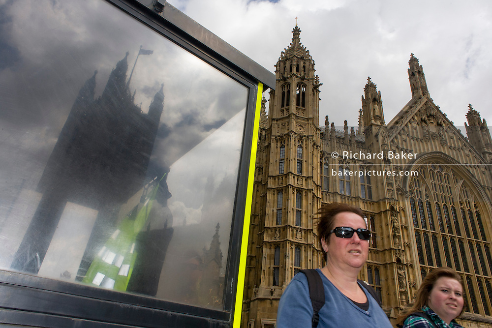 Police security kiosk under the Palace of Westminster in central London.