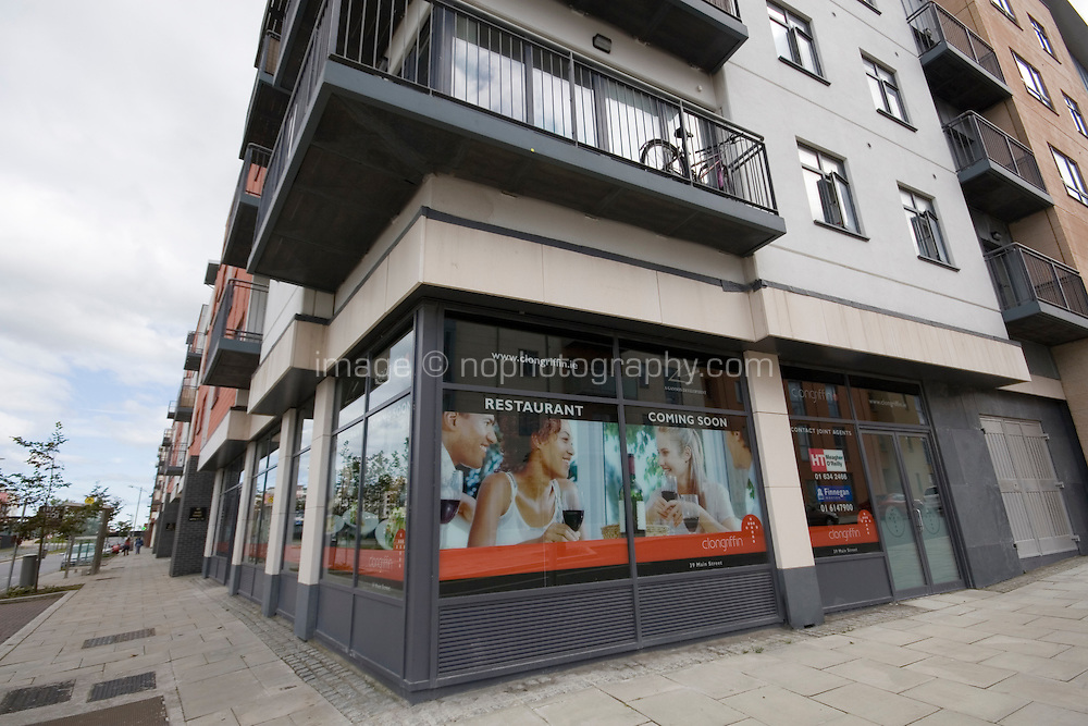Empty streets and retail units at the recent development Clongriffin Town Centre Dublin Ireland