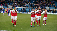 Fleetwood Town players applaud their fans at the final whistle<br /> <br /> Photographer Stephen White/CameraSport<br /> <br /> Football - The Football League Sky Bet League One - Gillingham v Fleetwood Town -  Friday 3rd April 2015 - MEMS Priestfield Stadium - Gillingham<br /> <br /> © CameraSport - 43 Linden Ave. Countesthorpe. Leicester. England. LE8 5PG - Tel: +44 (0) 116 277 4147 - admin@camerasport.com - www.camerasport.com
