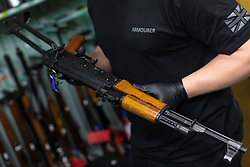 © Licensed to London News Pictures . 13/06/2019. Manchester , UK . A Chinese copy of an AK-47 Kalashnikov assault rifle that has been recovered . Inside Greater Manchester Police's weapons store at Claytonbrook in Openshaw where police issue firearms and recovered weapons are held . Photo credit : Joel Goodman/LNP