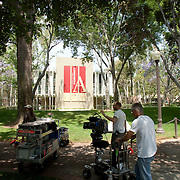 Production for the feature film The Roommate at the University of Southern California campus in Los Angeles.