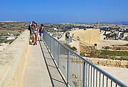 Walkway on walls of citadel walled castle Il-Kastell, Victoria Rabat, Gozo, Malta