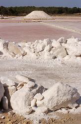 Salt production at Sa Rapita; Majorca Mallorca Spain,