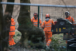 Wendover, UK. 9th April, 2021. HS2 contractors use a wood chipper machine at Jones Hill Wood, ancient woodland said to have inspired Roald Dahl, during tree felling operations for the HS2 high-speed rail link. Tree felling work began this week, in spite of the presence of resting places and/or breeding sites for pipistrelle, barbastelle, noctule, brown long-eared and natterer's bats, following the issuing of a bat licence to HS2's contractors by Natural England on 30th March.