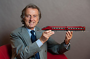 Luca Cordero di Montezemolo poses with a model of Nuovo Trasporto Viaggiatori ( NTV) high-speed train at the Foreing Press Assotiation in Rome, Italy, on Monday, Feb. 14, 2011. Photographer: Victor Sokolowicz/Bloomberg