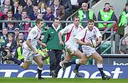 Twickenham. Surrey, UK., 16th February 2002, Six Nations International Rugby,  RFU Stadium, England vs Ireland,  [Mandatory Credit: Peter Spurrier/Intersport Images], England attack, [L] Will GREENWOOD, [C] Richard HILL and [R] Ben COHEN,<br /> <br /> The Lloyds TSB Six Nations Championship<br /> England v Ireland<br /> RFU - Twickenham<br /> 16/02/2002