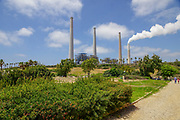 Steam is discharged from a flue at the Orot Rabin power station in Hadera, Israel