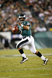 Philadelphia Eagles quarterback Donovan McNabb #5 looks for a receiver during the NFL game between the Denver Broncos and the Philadelphia Eagles on December 27th 2009. The Eagles won 30-27 at Lincoln Financial Field in Philadelphia, Pennsylvania. (Photo By Brian Garfinkel)