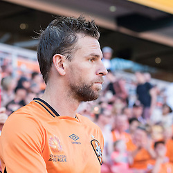 BRISBANE, AUSTRALIA - OCTOBER 30: Brett Holman of the roar enters the field before the round 4 Hyundai A-League match between the Brisbane Roar and Perth Glory at Suncorp Stadium on October 30, 2016 in Brisbane, Australia. (Photo by Patrick Kearney/Brisbane Roar)