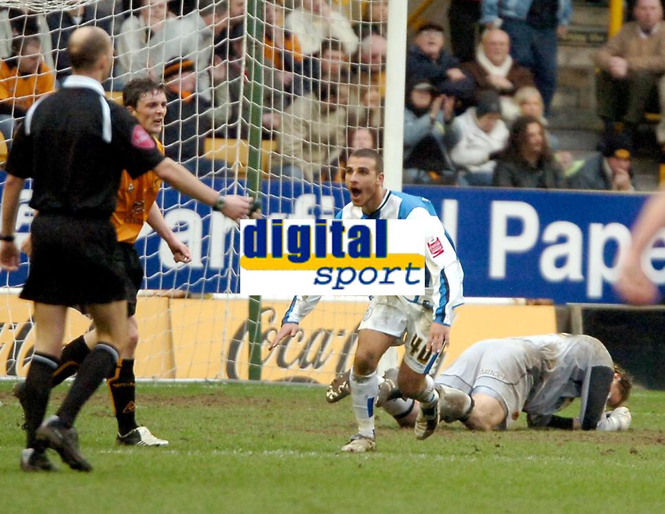 Photo: Ed Godden.<br />Wolverhampton Wanderers v Sheffield Wednesday. Coca Cola Championship. 25/03/2006. <br />Marcus Tudgay celebrates scoring Wednesdays 3rd goal.