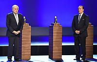 Fotball<br /> Foto: imago/Digitalsport<br /> NORWAY ONLY<br /> <br /> Fussball 64. FIFA Kongress in Sao Paulo 2014 10.06.2014 Eröffnung; Ehrung FIFA Order of Merit FIFA Präsident Joseph S. Blatter (li, Schweiz) und Eugenio FIGUEREDO (Uruguay , FIFA-Exekutivkomitee)