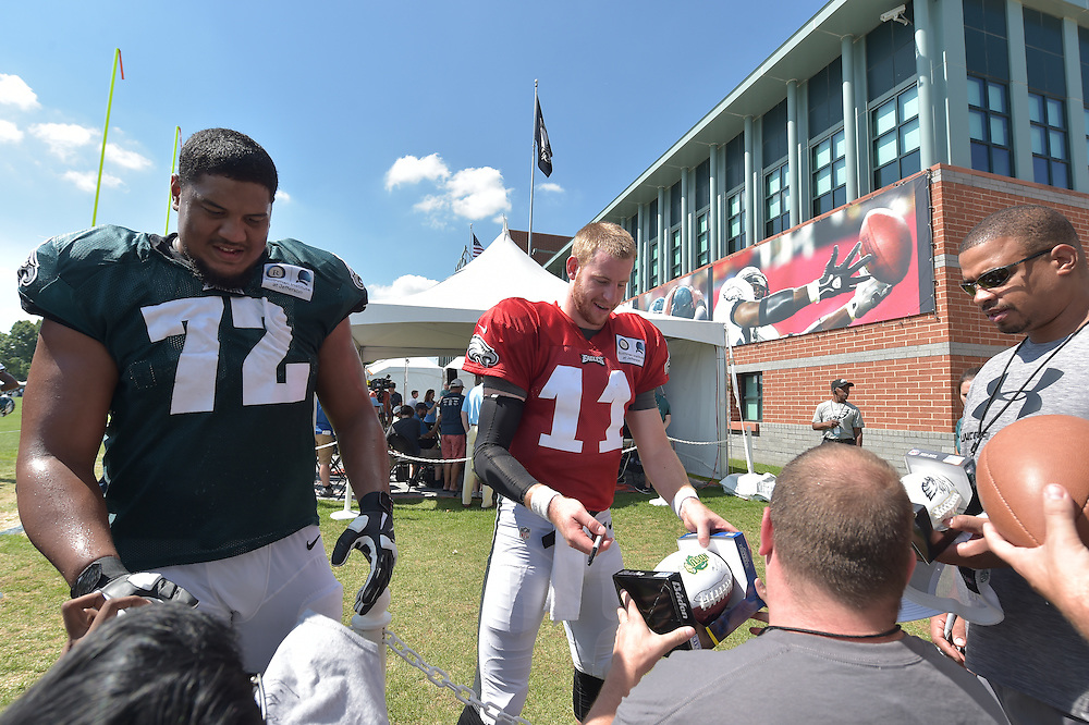 Carson Wentz #11 The Philadelphia Eagles practice and fans watch during training camp at the NovaCare Complex on August 3, 2016 in Philadelphia, Pennsylvania. (Photo by Drew Hallowell/Philadelphia Eagles)