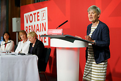 © Licensed to London News Pictures. 24/05/2016. London, UK. Shadow Minister for Women and Equalities KATE GREEN speaks to set out why women are better off in European Union at Church House in London on Tuesday, 24 May 2016. Photo credit: Tolga Akmen/LNP