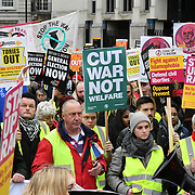 The people of Britain march and protest against the Tories Govt, Britain is Broken - General Election Now! if you care ending austerity, if you care about homelessness and Stand Up To Racism march for the refugees stop deportation and stop scapegoating immgrants assembly at BBC Portland Place to Trafalgar square on 12 January 2019, London, UK.