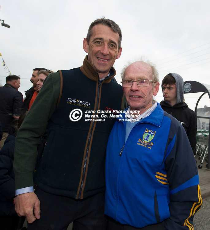 07-04-19. Tiger Roll winner of the Randox Aintree Grand National in Summerhill, Co. Meath.<br /> Davy Russell pictured with Jimmy Magee.
