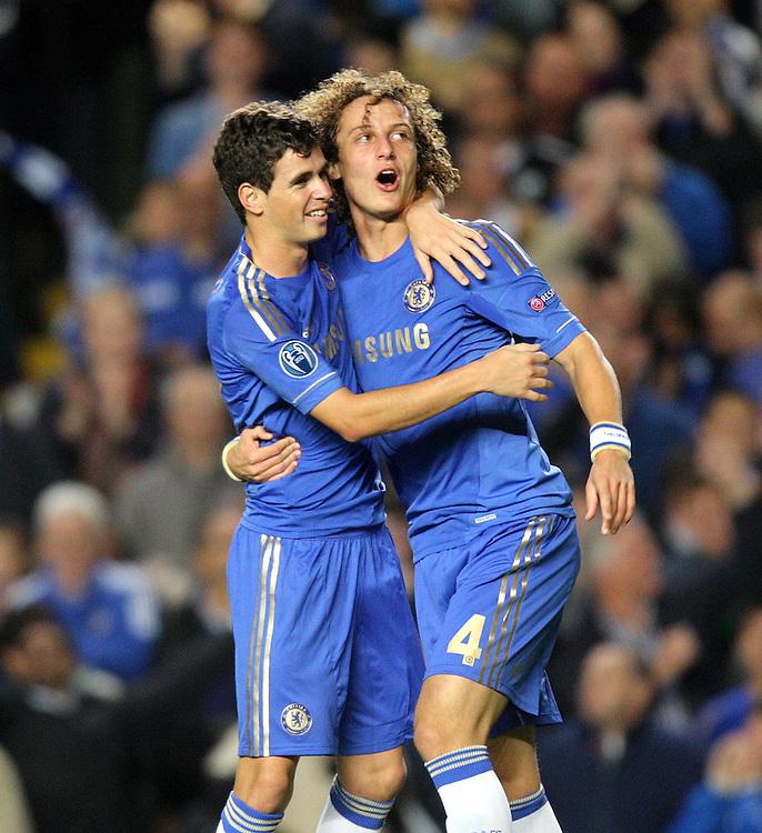 Chelsea's Oscar celebrates scoring his sides first goal 1-0..Football - UEFA Champions League Group E - Chelsea v Juventus - Wednesday 19th September 2012 - Stamford Bridge - London..