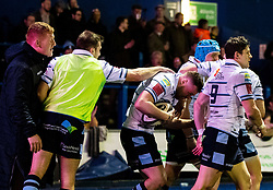 Owen Lane of Cardiff Blues celebrates scoring his sides third try<br /> <br /> Photographer Simon King/Replay Images<br /> <br /> Guinness PRO14 Round 15 - Cardiff Blues v Glasgow Warriors - Saturday 16th February 2019 - Cardiff Arms Park - Cardiff<br /> <br /> World Copyright © Replay Images . All rights reserved. info@replayimages.co.uk - http://replayimages.co.uk