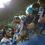 Juan Figallo, Argentina, is congratulated by fans after their teams 13-12 victory during the Argentina V Scotland, Pool B match at the IRB Rugby World Cup tournament. Wellington Regional Stadium, Wellington, New Zealand, 25th September 2011. Photo Tim Clayton...