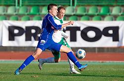 Aljosa Fekonja of Drava vs Davor Skerjanc of Olimpija  at 18th Round of PrvaLiga football match between NK Olimpija and NK Labod Drava, on November 21, 2009, in ZAK, Ljubljana, Slovenia. Olimpija defeated Drava 3:0. (Photo by Vid Ponikvar / Sportida)