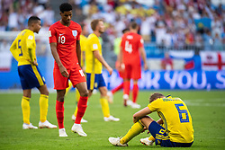 July 7, 2018 - Samara, Russia - 180707 Marcus Rashford of England approaches Ludwig Augustinsson of Sweden who looks dejected after loosing the FIFA World Cup quarter final match between Sweden and England on July 7, 2018 in Samara..Photo: Petter Arvidson / BILDBYRÃ…N / kod PA / 92083 (Credit Image: © Petter Arvidson/Bildbyran via ZUMA Press)