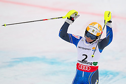 16.02.2013, Planai, Schladming, AUT, FIS Weltmeisterschaften Ski Alpin, Slalom, Damen, 2. Durchgang, im Bild Frida Hansdotter (SWE, 3. Platz) // 3th place Frida Hansdotter of Sweden reacts after 2nd run of the ladies Slalom at the FIS Ski World Championships 2013 at the Planai Course, Schladming, Austria on 2013/02/16. EXPA Pictures © 2013, PhotoCredit: EXPA/ Johann Groder