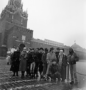 Peter Gabriel, Chrissie Hynde, Edge, Karl Wallinger, Brins from Aswad, a Thompson Twin, John Farnham, Annie L... another Thompson Twin... forget who else... think I was (luckily) out of shot, stage right, in this snap... its Moscow, Red Square... Kremlin in the background. Snowing... March. Cold as heck. Green Peace initiative to Russia... many tales from that trip – we stayed in a hotel which was policed by KGB informers and the guy who ran contraband to our floor got done by the cleaner (informer)... There was a reception at the Irish Ambassador's place too where a decent amount of Guinness was consumed... Record shop signings at which the crush was so huge the plate glass window caved in... - Greenpeace 1989
