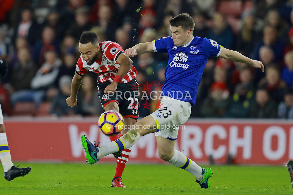 SOUTHAMPTON, ENGLAND - Saturday, November 19, 2016: Everton's Seamus Coleman in action against Southampton's Nathan Redmond during the FA Premier League match at St. Mary's Stadium. (Pic by David Rawcliffe/Propaganda)