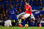 Henrikh Mkhitaryan of Manchester United in action with N'Golo Kante of Chelsea marking .Premier league match, Chelsea v Manchester United at Stamford Bridge in London on Sunday 5th November 2017.<br /> pic by Andrew Orchard sports photography.