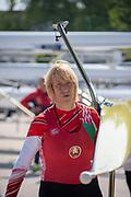 Plovdiv, Bulgaria, {DATE, }FISA, Rowing World Cup 1,  Ekaterina KARSTEN, BLR, W1X, carrying boat [© Karon PHILLIPS/ Intersport Images]