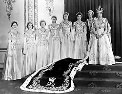 Queen Elizabeth II with her Maids of Honour after the Coronation. Left to right: Lady Moyra Hamilton; Lady Rosemary Spencer-Churchill; Lady Anne Coke; Lady Jane Heathcote-Drummond-Willoughby; Lady Jane Vane-Tempest-Stewart; Lady Mary Baillie-Hamilton; and the Mistress of the Robes, the Dowager Duchess of Devonshire.
