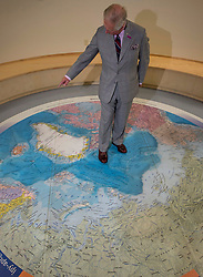 Prince Charles stands on a map of the Arctic as he tours the Nunavut, Canada Research Institute, Thursday, June 29, 2017 in Iqaluit, Nunavut, Canada. Photo by Adrian Wyld/ABACAPRESS.COM