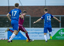 Arbroath's Danny Denholm scoring their goal. half time : Arbroath 1 v 0 Montrose, Scottish Football League Division One played 10/11/2018 at Arbroath's home ground, Gayfield Park.