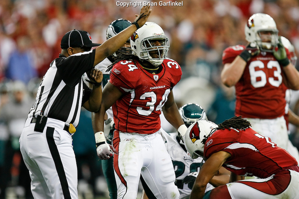 18 Jan 2009: Arizona Cardinals running back Tim Hightower #34 reacts after a play during the NFC Championship game against the Philadelphia Eagles on January 18th, 2009. The Cardinals won 32-25 at University of Phoenix Stadium in Glendale, Arizona.