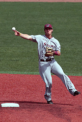 26 April 2014:    Jake Welch fields an infield hit and hurls it to first base during an NCAA Division 1 Missouri Valley Conference (MVC) Baseball game between the Southern Illinois Salukis and the Illinois State Redbirds in Duffy Bass Field, Normal IL