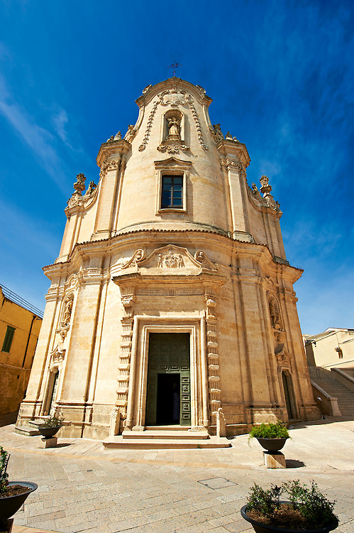 The Baroque facade, with its sculptures of skulls, of the church of Pugatory , Matera, Italy .<br /> <br /> Visit our ROMAN ART & HISTORIC SITES PHOTO COLLECTIONS for more photos to download or buy as wall art prints https://funkystock.photoshelter.com/gallery-collection/The-Romans-Art-Artefacts-Antiquities-Historic-Sites-Pictures-Images/C0000r2uLJJo9_s0<br /> .<br /> <br /> Visit our MEDIEVAL PHOTO COLLECTIONS for more   photos  to download or buy as prints https://funkystock.photoshelter.com/gallery-collection/Medieval-Middle-Ages-Historic-Places-Arcaeological-Sites-Pictures-Images-of/C0000B5ZA54_WD0s
