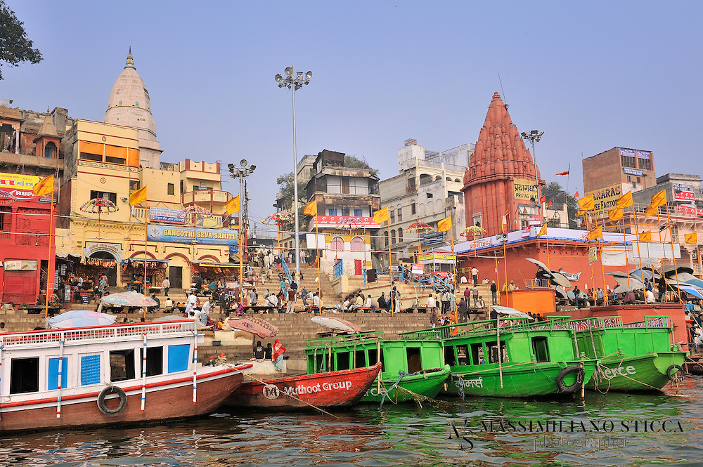 Dashasvamedh Ghat is divided into two parts, Dashashvamedh- A and Dashashvamedh- B. In between two parts Prayag Ghat is located. Prayag Ghat replicates the Prayag (Allahabad), a holy city which is located 128 km west from Varanasi. This ghat is recognized by first horse sacrifices performed around 3rd century CE by Bhar Shiva Nagas king. Present form of this ghat is built by Balaji Bajo Rao in 1748. The images of Shitala Devi, Dashashvamedhashavara and Dashashvamedhvara are located within a big compound. Here Lord Brahma (creator) performed Dasha (Ten) Ashva (Hourse) Medha (sacrifice), hence name is Dashashvamedh. The four headed Brahmeshvara Linga is taken for verification of story.
