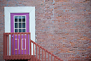 A door and stairway along a brick wall in the town of Phillipsburg, Montana Missoula Photographer, Missoula Photographers, Montana Pictures, Montana Photos, Photos of Montana