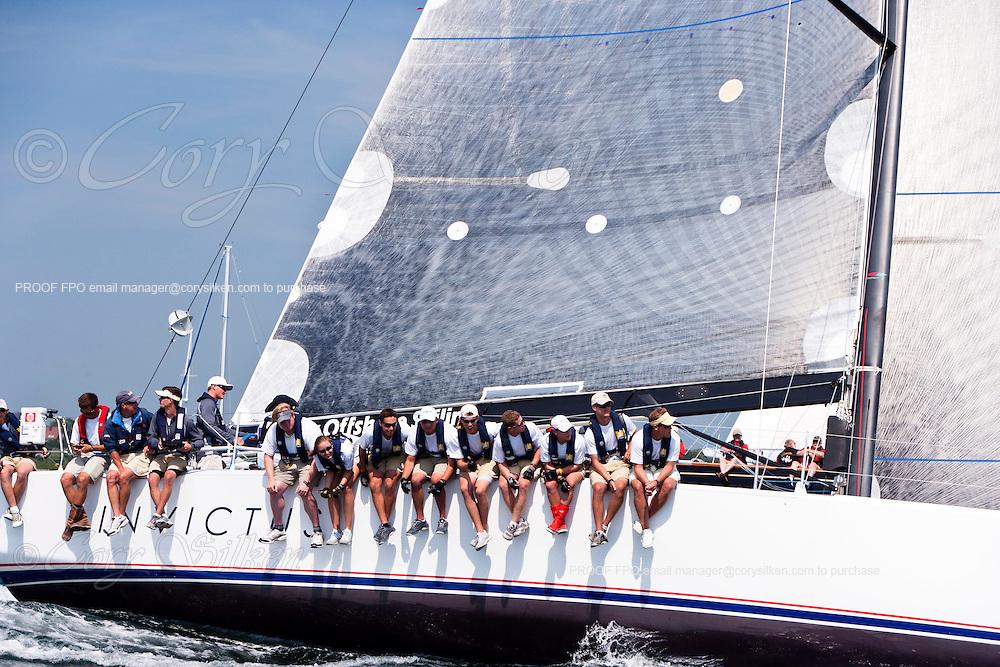 Invictus, class 8, sailing at the start of the Newport Bermuda Race 2010. The race began in Newport, Rhode Island on June 18, 2010.