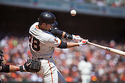 San Francisco Giants catcher Buster Posey (28) pops a foul ball against the Arizona Diamondbacks at AT&T Park in San Francisco, Calif., on August 31, 2016. (Stan Olszewski/Special to S.F. Examiner)