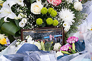 Two days after the killing of the Conservative member of parliament for Southend West, Sir David Amess MP, is a detail of floral tributes left in Eastwood Road North, a short distance from Belfairs Methodist Church in Leigh-on-Sea, on 17th October 2021, in Leigh-on-Sea, Southend , Essex, England. Amess was conducting his weekly constituency surgery when attacked with a knife by Ali Harbi Ali.