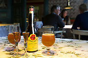 Gammel Dansk bitter dram with local beer in glasses at Sonderho Kro Hotel and Restaurant, Fano Island, South Jutland, Denmark