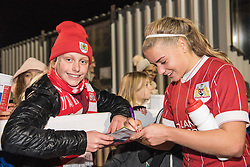 Olivia Fergusson of Bristol City Women signs an autograph - Mandatory by-line: Paul Knight/JMP - 02/12/2017 - FOOTBALL - Stoke Gifford Stadium - Bristol, England - Bristol City Women v Brighton and Hove Albion Ladies - Continental Cup Group 2 South
