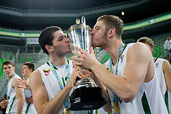 Vytenis Cizauskas of Lithuania and Dovydas Redikas of Lithuania as European champions Lihtuania after basketball match between National teams of Lithuania and France in Final match of U20 Men European Championship Slovenia 2012, on July 22, 2012 in SRC Stozice, Ljubljana, Slovenia. Lithuania defeated France 50:49. (Photo by Matic Klansek Velej / Sportida.com)
