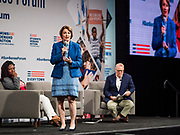 10 AUGUST 2019 - DES MOINES, IOWA: Senator AMY KLOBUCHAR, (D-MN), a Democratic Presidential candidate, answers questions from gun violence survivors at the Presidential Gun Sense Forum. Several thousand people from as far away as Milwaukee, WI, and Chicago, came to Des Moines Saturday for the Presidential Gun Sense Forum. Most of the Democratic candidates for president attended the event, which was organized by Moms Demand Action, Every Town for Gun Safety, and Students Demand Action.             PHOTO BY JACK KURTZ