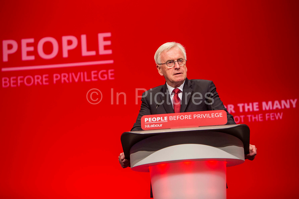 John McDonnell MP, Shadow Chancellor speaking on the third day of the Labour Party conference on Monday, September 23rd, 2019 in Brighton, United Kingdom.