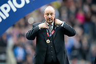 Newcastle United manager Rafael Benitez adjusts his EFL Sky Bet Championship winners' medal following the EFL Sky Bet Championship match between Newcastle United and Barnsley at St. James's Park, Newcastle, England on 7 May 2017. Photo by Craig Doyle.