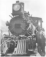 RGS class 60 locomotive with crewman posing.<br /> RGS