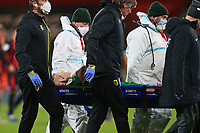 Football - 2020 / 2021 Sky Bet Championship - AFC Bournemouth vs. Preston North End - The Vitality Stadium<br /> <br /> Patrick Bauer of Preston holds his face whilst being stretchered off at the Vitality Stadium (Dean Court) Bournemouth <br /> <br /> COLORSPORT/SHAUN BOGGUST