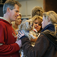(01/20/10-Boston,MA) US Senator-elect Scott Brown appears outside the Park Plaza Hotel early this morning where he prepared to say goodbye to his daughter Arianna who was returning to college (at right) as his wife Gail Huff stood by (middle). Here, Photo by Mark Garfinkel